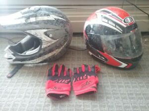 Helmets and pair of fox gloves.