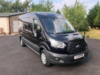 2016 16 FORD TRANSIT 350 TREND 2.2TDCI L3 H2 125PS RWD BLACK 1 OWNER FROM NEW