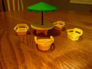 Vintage Fisher-Price Miniature Picnic Umbrella Table and Chairs