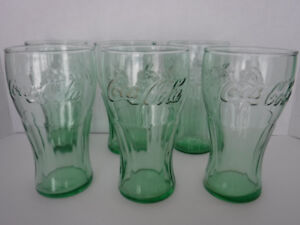 COCA COLA GLASSES ANCHOR HOCKING GREEN  LARGE SIZE