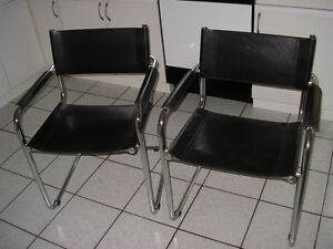 Stam & Breuer Italian black leather and chrome steel chairs