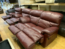 FREE DELIVERY burgundy 2+1+1 leather recliner suite