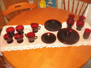 Vintage Ruby Red Dishes and Vases
