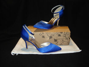 NEW BLUE SATIN PROM/WEDDING SHOES FOR SALE