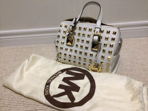 NEW Michael Kors White Medium Grayson Studded Purse