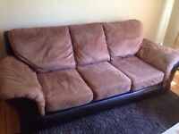 Leather wrapped suede couch **need gone**