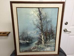 Beautiful Oil On Canvas Early Winter Scene London Ontario image 1