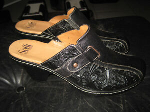 Brand New Sofft Mule Clogs Black Tooled Leather Shoes - 11 M