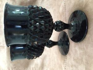 2 Black Glass Goblets