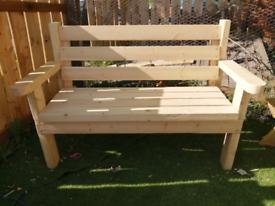 Rustic Handcrafted Solid Wood Garden Bench