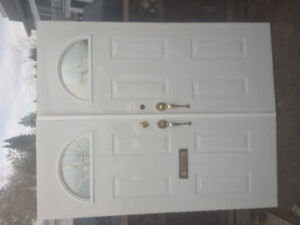 Standard Front Door Set w Hardware /half moon widows