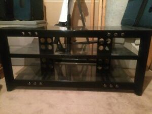 black metal with glass top tv stand