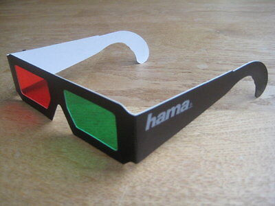 Hama Papierbrille Farbfilterbrille 3D Brille Rot-Grün für 3D Kino Filme TV