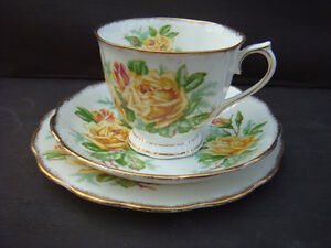 """Yellow Tea Rose""  china Trio.by royal albert"