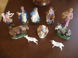 10 personnages anciens crèche de Noel made in  Italy