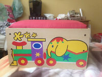 Toy Box with Padded Bench