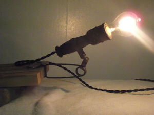Antique Trouble Lamp with Articulating Shelf Clamp