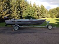 14ft misty river fishing boat, 9.9 Merc, & trailer