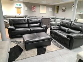 Scs 3+2 seater leather sofa + Storage footstool