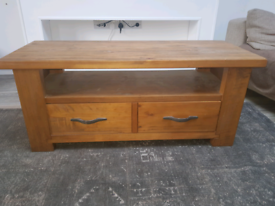 Next solid oak tv unit and matching coffee table