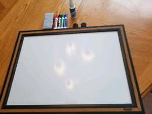 Dry erase board with accessories