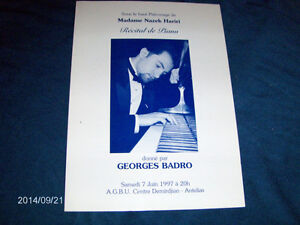 PROGRAM-RECITAL DE PIANO-GEORGES BADRO-MME-HARIRI-6/1997