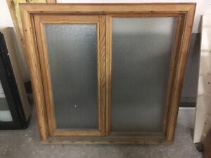 "36"" x 36"" cedar wood window"