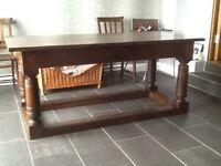 ANTIQUE SOLID OAK 3 PLANK REFECTORY TABLE, LATE 18th c /early 19th c
