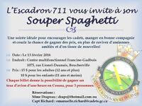 Souper spaghetti, bénéfice pour Escdron 711 Pierre Boucher.