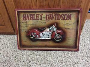 Vintage Wooden Harley Davidson Art