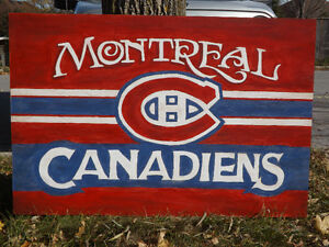 VINTAGE STYLE HANDMADE SPORTS HOCKEY SIGN MONTREAL CANADIENS Peterborough Peterborough Area image 2