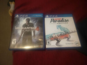 PS4 Games - Burnout Paradise Remastered, Uncharted 4