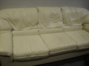Cream Leather 3 person couch for sale Peterborough Peterborough Area image 2