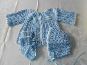 BRAND NEW HAND CROCHETED 3pc & 4pc BABY SWEATER SETS