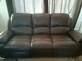 3 Seater Leather Reclining Sofa plus footstool