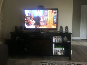 Television (TV) Stand with Electric Fireplace