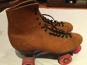 Vintage suede Dominion Precison roller skates size 10 men's