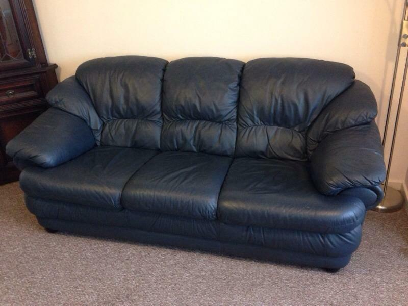 Navy Blue Leather Three Seater Sofa And 2 Armchairs In