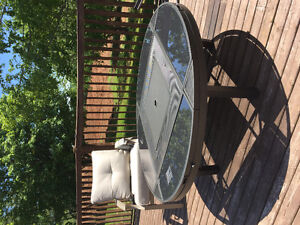 Fire pit/drink cooler patio table