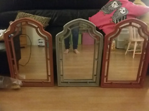 3 old painted frame mirrors