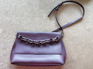 Charles and Keith Purple/Brown Leather Hand Bag