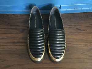 United Nude slip loafers, black+gold, size 41