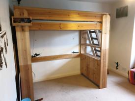 Handmade high sleeper with shelves