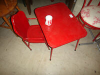 Vintage Red Metal Child's Table and Chair D 286