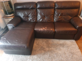 Leather electric reclining chaise lounge sofa