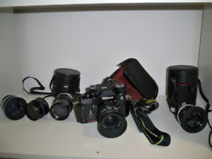 NIKON F2* SLR film camera*with accessories: lenses/cases/filters