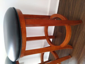 Leather and Wood Stools