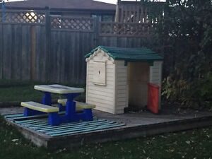 Play house and kids picnic table