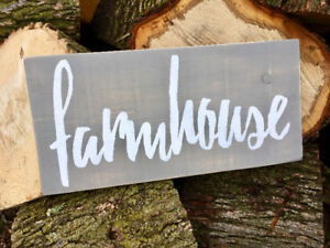 "Rustic handmade ""farmhouse"" wooden sign – priced to sell!"