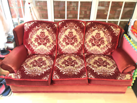 Red sofa fabric, good condition, free